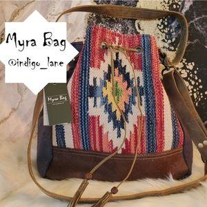 """Myra """"Blue"""" Leather, Rug & Hair-on Bucket Bag"""
